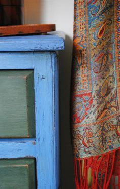 Greek Blue Chalk Paint with Antibes Green and Graphite mix. Distressed and with tinted wax. Bohemian look #anniesloan