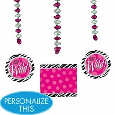 Zebra Party Personalize It Dangling Decoration Kit - Party City Diva Party Decorations, Party Themes, Theme Parties, Zebra Party, Discount Party Supplies, Get The Party Started, Party Stores, Best Part Of Me, Halloween Costumes