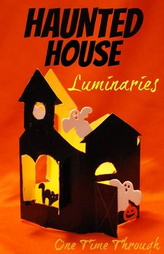 Recycled Box Haunted House Luminary