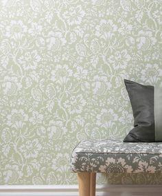Papel pintado flores eduardo verde | telas & papel