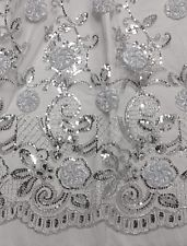 "WHITE MESH W/SILVER FLORAL EMBROIDERY SEQUINS LACE FABRIC 50"" WIDE 1 YD"