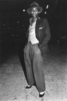 """1940s L.A. Gang Member - the first black gangs were formed in reaction to southern-California """"anti-minority gangs"""" -- largely comprised by war veterans -- such as the """"Hell's Angels"""" and the Los Angeles-based """"Spook Hunters"""" who began carrying out violent attacks against predominantly-black-and-Hispanic communities."""