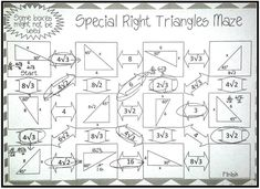 Special Right Triangles Puzzle Special right triangle