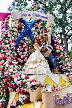 Beauty and the Beast in the Festival of Fantasy Parade at the Walt Disney World Resort. Meg & Her Camera Photography (Instagram @disneyworlddust)