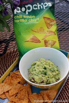 Copy Cat Chipotle Guacamole Recipe! And it's healthy! Swap the Popchips for Terra Chips and it's even better! mykeepcalmandcarryon.com #paleo #paleoguacamole