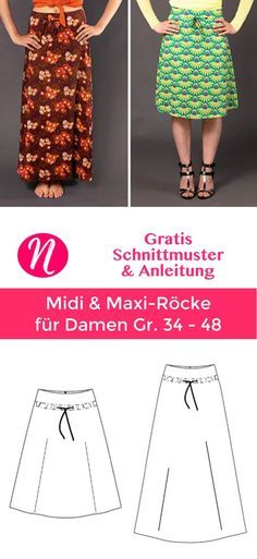 Free A-Line Skirts for Women ❤️ Midi & Maxi Length ❤️ PDF Sewing Pattern in Gr. 36 - 48 for printing ✂️ Nähtalente.de - Magazine for free sewing p. Sewing Patterns Free, Free Sewing, Free Pattern, Knitting Patterns, Pattern Sewing, A Line Skirt Pattern, Diy Maxi Skirt, Mode Plus, A Line Skirts