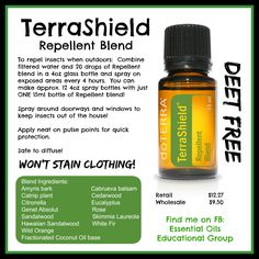 doTERRA's Repellent Blend, TerraShield Find me on FB: https://www.facebook.com/groups/EssentialOilsEducationalGroup/