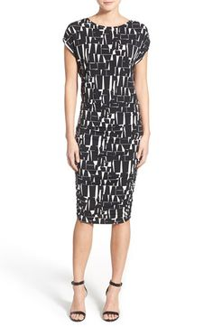 ffe21ae46ae Vince Camuto Ruched Geometric Print Sheath Dress available at