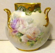 JP L France Pillow Vase - White Rose w/ Gold&Green Detail - Hand Painted&Signed