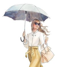 {detail of 2017 April calendar girl} This is why I love to draw. In the world of illustration this is what a rainy day looks like. You do not even want to know what reality looks like on this rainy Mo Foto Fashion, Fashion Art, Girl Fashion, Illustration Mignonne, Illustration Sketches, Girl Illustrations, Illustration Fashion, Chica Cool, Calendar Girls