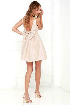 Bow Me a Kiss Beige Backless Dress