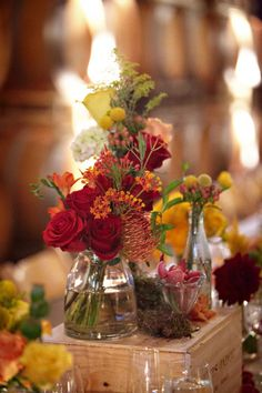 rustic floral centerpiece on box