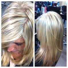 Platinum highlights with wheat blonde lowlights