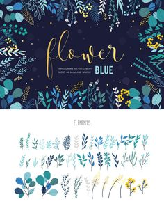 BLUE Flower-Leaves hand drawn vector by beerjunk on @creativemarket