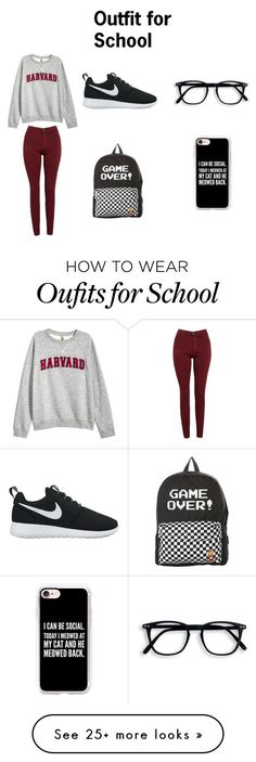 """""""Outfit for School"""" by ava-josephine on Polyvore featuring H&M, AG Adriano Goldschmied, NIKE, Vans and Casetify"""