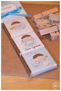 Bautismo varón. Souvenirs. Chocolates personalizados.