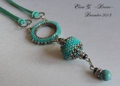 "кулон ""Бирюзовый бриз"" by Dream Beaded Necklaces, Bead Jewelry, Beadwork, Loom, Pendants, Beads, Jewels, Schmuck, Beaded Jewelry"