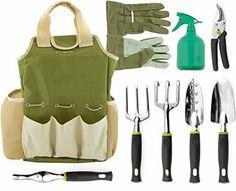Garden Tool Set 9Pc Tote Bag Trowel Gloves Rake Pruning Shears Weeder Cultivator  | eBay