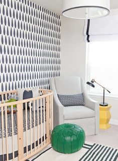 Colorful and Modern Toddler Room/Nursery - great modern wallpaper accent wall!