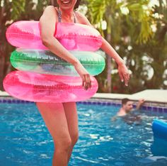 This is the best thing to do at pool parties. And to stack them up and try to dive into the middle. I miss grade school pool parties.