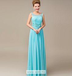 Elegant lace top floor length chiffon dress $140.98