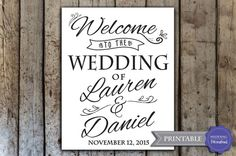 Custom wedding welcome sign printable wedding by HopSketchDesigns