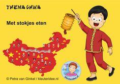 Kleuters leren over het thema China met kleuteridee.nl. Hoe eten Chinese kinderen met stokjes?