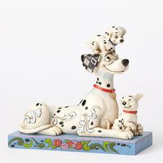 "Jim Shore ""Puppy Love"" Pongo. Penny and Rolly 101 Dalmatian Figure"