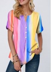 Split Neck Button Detail Tie Dye Print T Shirt rainbow Stylish Tops For Girls, Trendy Tops For Women, How To Roll Sleeves, Half Sleeves, Printed Blouse, Tie Dye, Tops Online, Shirts Online, Print Button