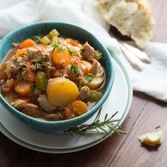 Slow Cooker Tuscan Chicken Stew - substitute sweet potatoes for potatoes; remove cornstarch (replace with...??) to make more Paleo