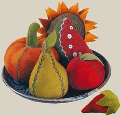 "Felt fruits and vegetables by Bonnie Sullivan Design from 'Bonnie's Garden"" book.   Some of these would be a nice addition to autumn decor."
