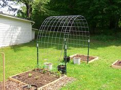 Use for Vegetables that grow on a vine with raised beds.