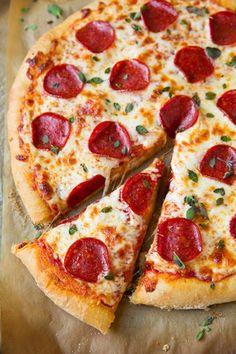 Pepperoni Pizza (Homemade Dough and Pizza Sauce Recipes) - Cooking Classy Pizza Recipes, Sauce Recipes, Cooking Recipes, Yummy Recipes, Comida Pizza, Sauce Pizza, Spinach Pizza, Cauliflower Pizza, Gastronomia