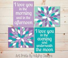 Nursery Décor-Purple Turquoise Décor-I Love you forever-Nursery Art-Modern Nursery Décor by HollyPop Designs, $40