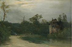 OBRAS DE CADA DIA: KARL BLECHEN - Castelo numa paisagem arborizada - Óleo sobre painel