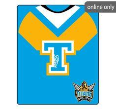 nrl-team-logo-polar-fleece-printed-155x127cm-throw-gold-coast-titans Nrl Merchandise, Quilt Cover Sets, Astros Logo, Polar Fleece, Houston Astros, Gold Coast, Team Logo, Quilts, Printed