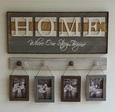 Signo de rústico hogar casa donde empieza nuestra historia