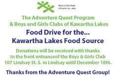 #FoodDrive #BGCKL #KawarthaLakes #BoysandGirlsClub #AdventureQuest #FoodSource #CommunityConnections