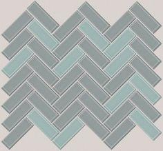 Gray/Aqua Backsplash - love the herringbone