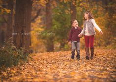 Gorgeous fall foliage for the backdrop made me love this cute brother and sister all the more!
