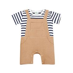 Baby Faux-two Black Striped Cotton One Piece in Khaki (Unisex), 50% discount @ PatPat Mom Baby Shopping App