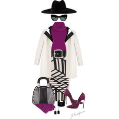 Black & White with a Pop Of Color by shadedlady on Polyvore featuring Temperley London, Narciso Rodriguez, Roland Mouret, Filù Hats, Casadei, Emporio Armani, Swarovski, Charming Life, Uniqlo and Givenchy