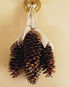 50 Simple Holiday Decor Ideas {Easy Christmas Decorating} Saturday Inspiration and Ideas - bystephanielynn - Gilded pine cones Easy Christmas Crafts, Noel Christmas, Simple Christmas, All Things Christmas, Easy Crafts, Christmas Ornaments, Xmas, Christmas Ideas, Christmas Topiary