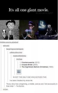Tim Burton movies scare the crap out of me, but this is pretty cool<<Are you kidding me? Tim Burton Movies are awesome! Tumblr Funny, Funny Memes, Hilarious, Funny Quotes, La Route D'eldorado, Disney And Dreamworks, Disney Pixar, Johny Depp, Disney Memes