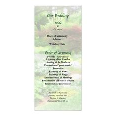 Garden With Japanese Maple Wedding Program -- Summer wedding program that you can customized yourself.  #wedding  #weddingprogram #weddingprograms #gettingmarried #customize #flower #flowers  #maple #japanesemaple #summer #garden #green $0.65 per card   BULK PRICING AVAILABLE!
