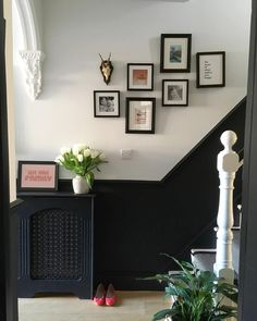 We're getting there finally. The radiator cover is painted and it's starting to feel a little more finished! Hallway Paint, Hallway Flooring, Dado Rail Hallway, Design Hotel, Black Hallway, Modern Hallway, Half Painted Walls, Painted Radiator, Victorian Hallway
