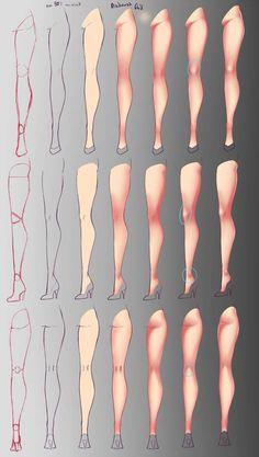 Digital Painting Tutorials, Digital Art Tutorial, Art Tutorials, Digital Paintings, Drawing Reference Poses, Drawing Poses, Design Reference, Drawing Legs, Meat Drawing