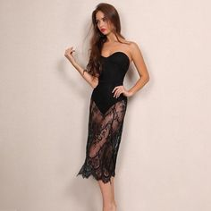 Strapless Sweet Black Lace Dress Club Party Dresses, Black Party Dresses, Party Dresses For Women, Formal Dresses, Body Figure, Sassy, Looks Great, Lace Dress, Sweet