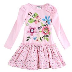 Novatx Baby Girls' Long Sleeves Cotton Dress (5/6Y) * For more information, visit image link.