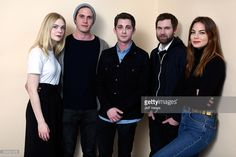 Actors Elle Fanning, Blake Jenner, Logan Lerman, filmmaker Shawn Christensen and actress Michelle Monaghan from the film 'Sidney Hall' pose for a portrait in the WireImage Portrait Studio presented by DIRECTV during the 2017 Sundance Film Festival on January 23, 2017 in Park City, Utah.
